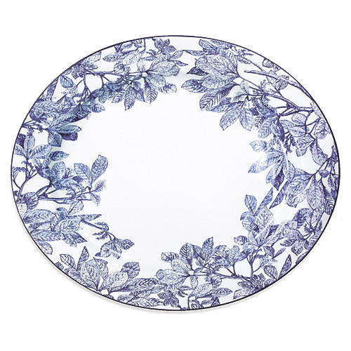 "Arbor Blue Rimmed Oval Platter, 15"""
