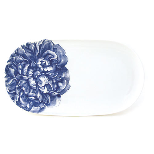 "Peony Blue Oval Platter, 12"""