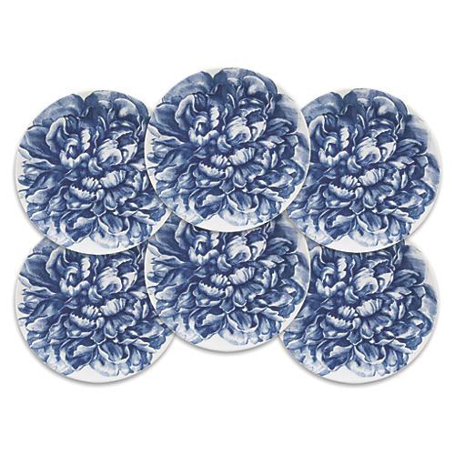 S/6 Peony Blue Canapes