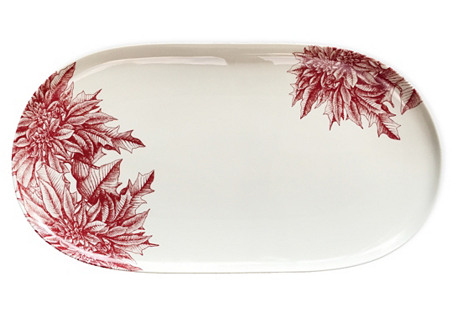 Poinsettia Red Oval Platter, Red