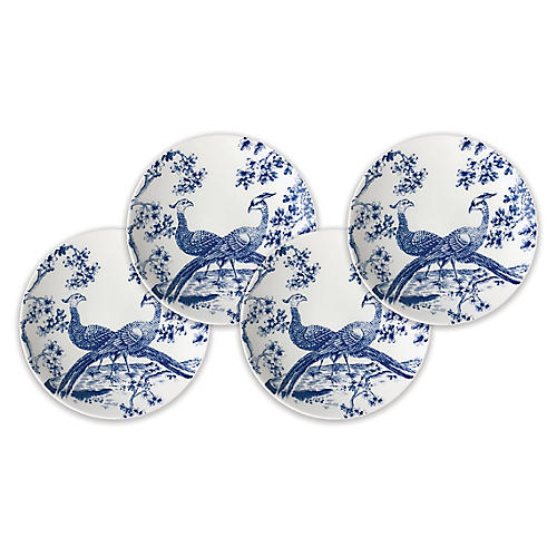 S/4 Chinoiserie Dessert Plates, White/Blue