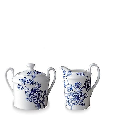 Asst. of 2 Acadia Sugar Bowl & Creamer, White/Blue