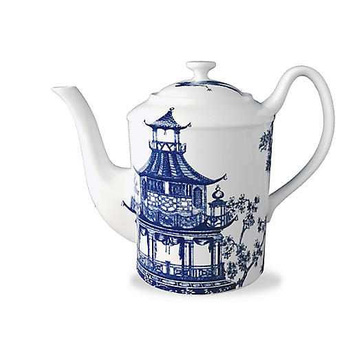 Chinoiserie Teapot, White/Blue