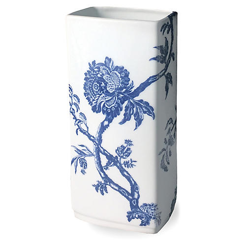 "9"" Arcadia Rectangular Vase, White/Blue"