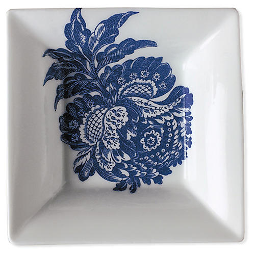 "5"" Arcadia Trinket Tray, White/Blue"