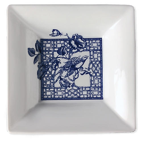 "5"" Chinoiserie Trinket Tray, White/Blue"