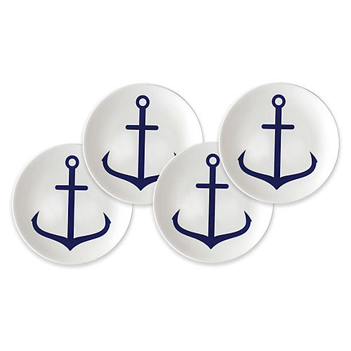 S/4 Anchor Dessert Plates, White/Blue
