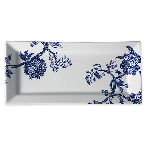 Arcadia Serving Tray, White/Blue