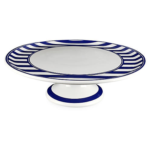 Beach Cake Stand, White/Blue