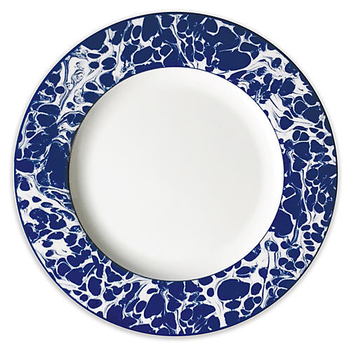 Marble Salad Plate, White/Blue