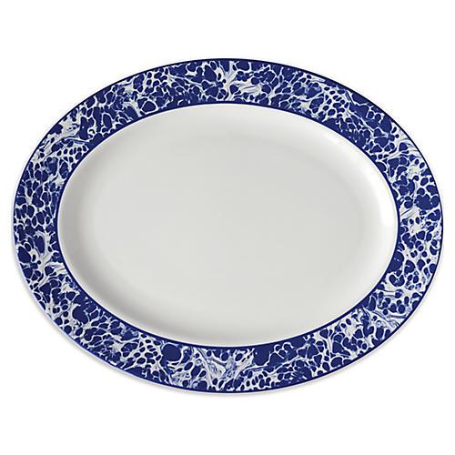 Marble Platter, White/Blue