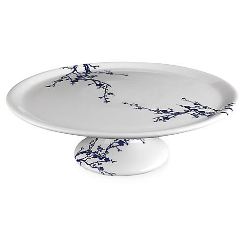 Flowering Cake Stand, White/Blue