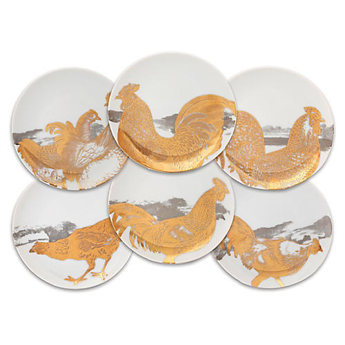 S/6 Roosters Dessert Plates, Gold/Multi