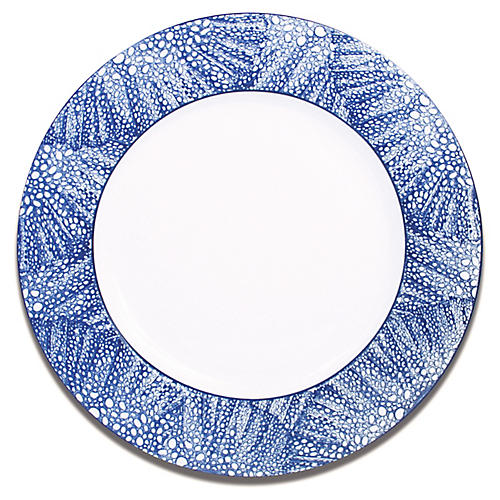 Sea-Fan Dinner Plate, White/Blue