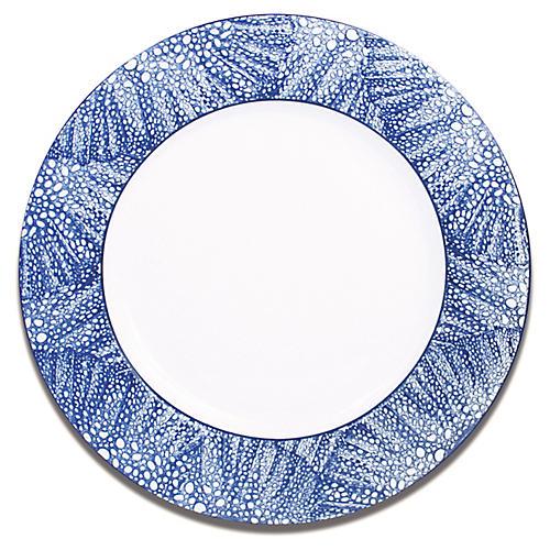 Sea-Fan Dinner Plate, White/Blue
