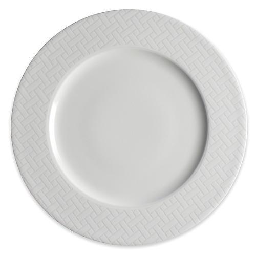 Wicker Dinner Plate, White