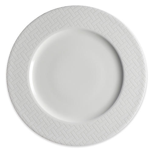 Wicker Dinner Plate, White