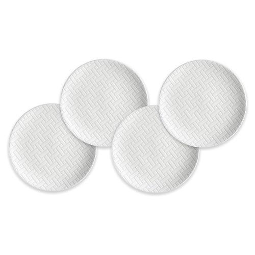 S/4 Wicker Dessert Plates, White