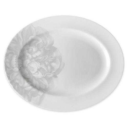Peony Mist Serving Platter, Gray