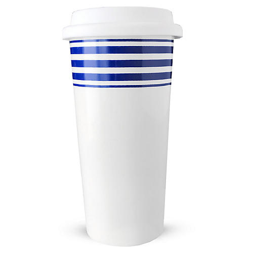 Beach Towel Striped Travel Mug, Blue
