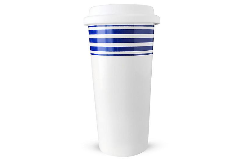 Beach Towel Striped Travel Mug, Blue