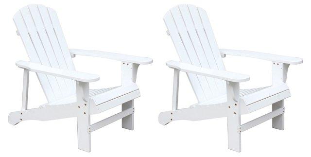 White Wood Adirondack Chair, Pair