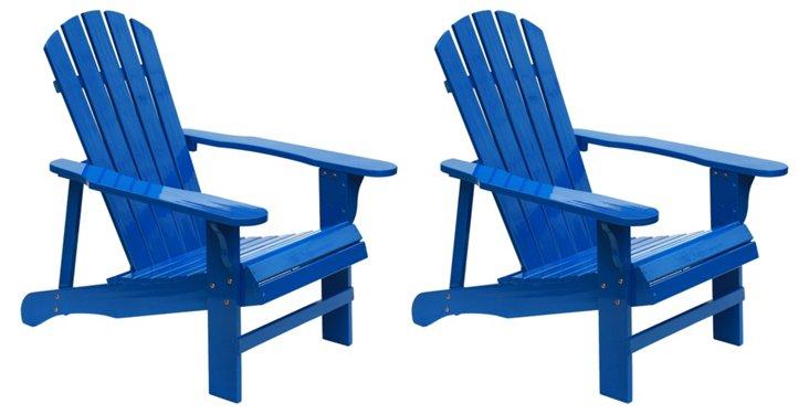 Blue Wood Adirondack Chairs, Pair