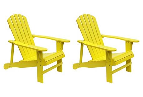 Yellow Adirondack Chairs, Pair