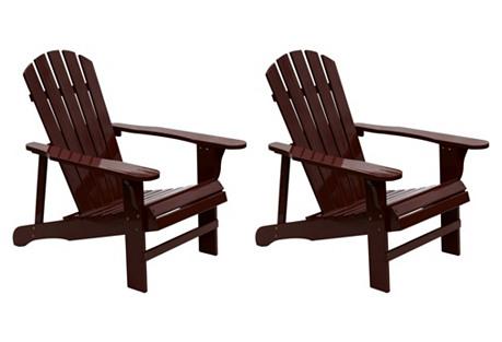 Brown Adirondack Chairs, Pair