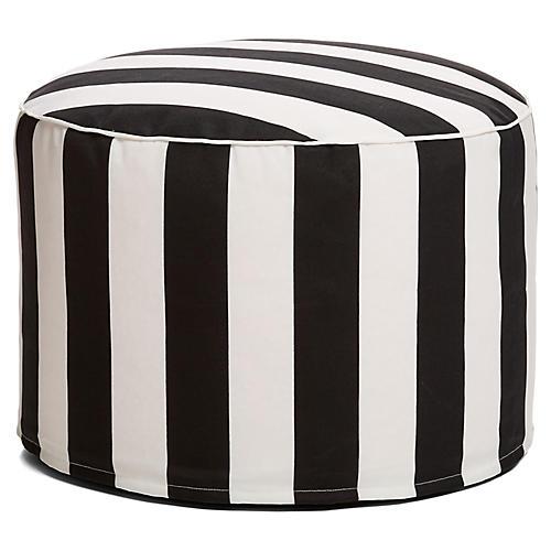 Cabana Stripe Outdoor Ottoman, Black/White
