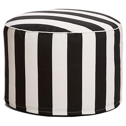 Cabana Stripe Outdoor Ottoman, Black/White