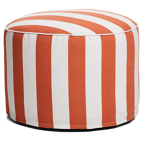 Cabana Stripe Outdoor Ottoman, Orange/White