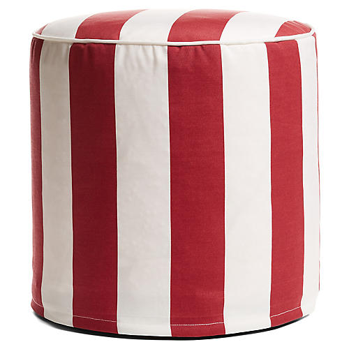 Cabana Stripe Outdoor Round Pouf, Red/White