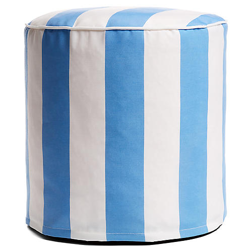 Cabana Stripe Outdoor Round Pouf, Blue/White