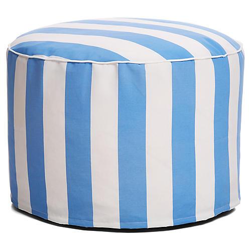 Cabana Stripe Outdoor Ottoman, Blue/White