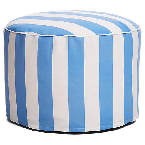 Cabana Stripe Outdoor Ottoman, Blue/White