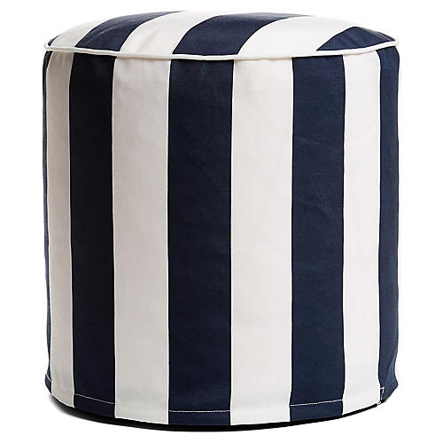Cabana Stripe Outdoor Round Pouf, Navy/White