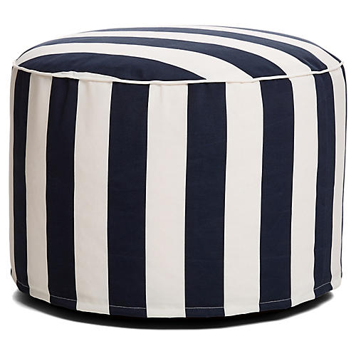 Cabana Stripe Outdoor Ottoman, Navy/White