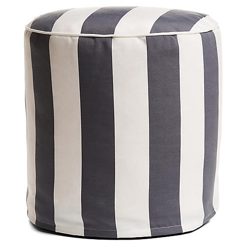 Cabana Stripe Outdoor Round Pouf, Gray/White