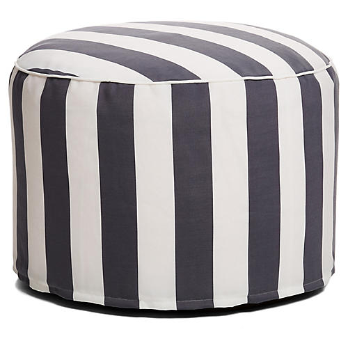 Cabana Stripe Outdoor Ottoman, Gray/White