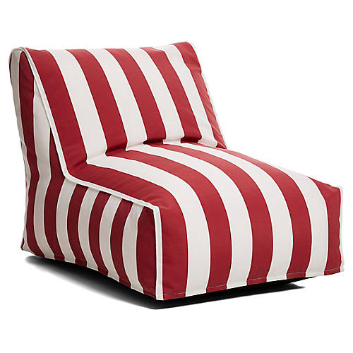 Cabana Stripe Outdoor Lounger, Red/White