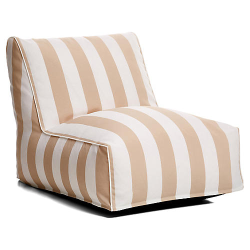 Cabana Stripe Outdoor Lounger, Beige/White
