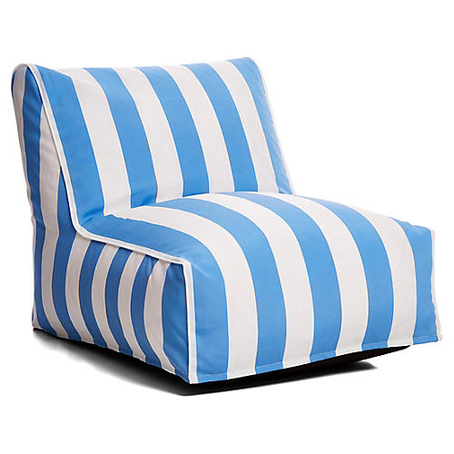 Cabana Stripe Outdoor Lounger, Blue/White
