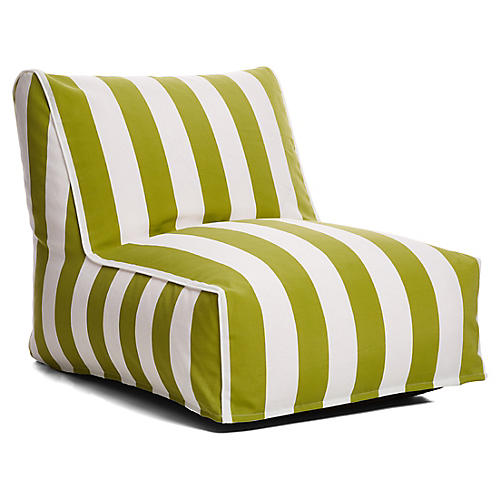 Cabana Stripe Outdoor Lounger, Green/White