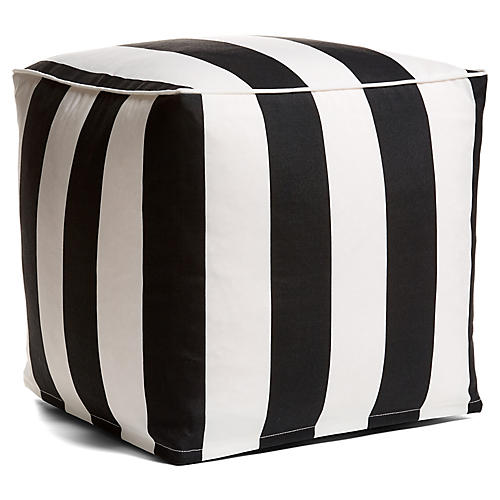 Cabana Stripe Outdoor Pouf, Black/White