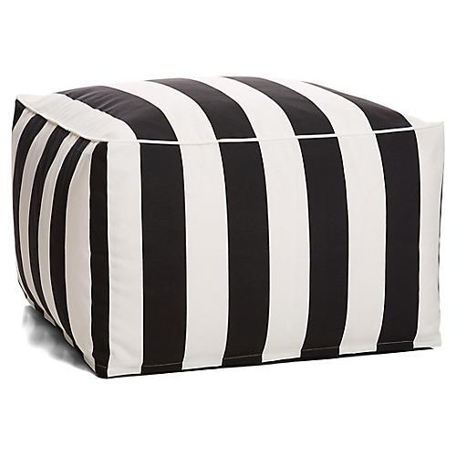 Cabana Stripe Outdoor Square Pouf, Black/White