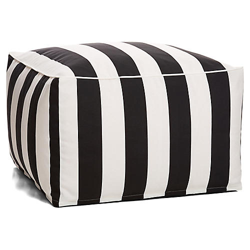 Cabana Stripe Outdoor Square Pouf, Black/White