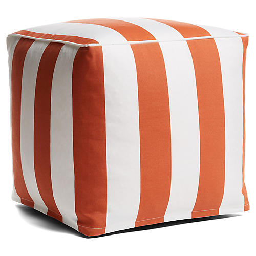 Cabana Stripe Outdoor Pouf, Orange/White