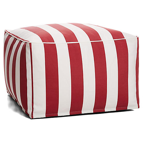 Cabana Stripe Outdoor Square Pouf, Red/White