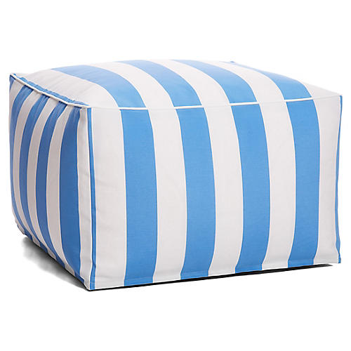 Cabana Stripe Outdoor Square Pouf, Blue/White